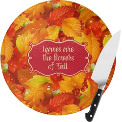 Fall Leaves Round Glass Cutting Board