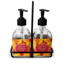 Fall Leaves Glass Soap & Lotion Bottles
