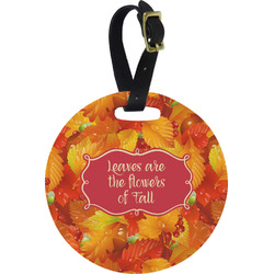 Fall Leaves Round Luggage Tag