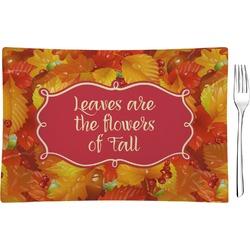 Fall Leaves Rectangular Glass Appetizer / Dessert Plate - Single or Set