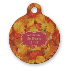 Fall Leaves Round Pet Tag