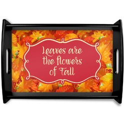 Fall Leaves Black Wooden Tray