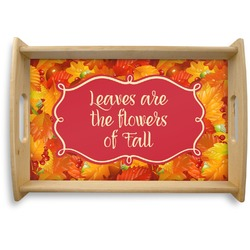 Fall Leaves Natural Wooden Tray