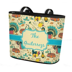 Old Fashioned Thanksgiving Bucket Tote w/ Genuine Leather Trim (Personalized)