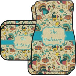 Old Fashioned Thanksgiving Car Floor Mats Set - 2 Front & 2 Back (Personalized)