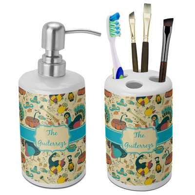 Old Fashioned Thanksgiving Ceramic Bathroom Accessories Set (Personalized)