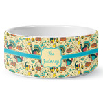 Old Fashioned Thanksgiving Ceramic Dog Bowl (Personalized)