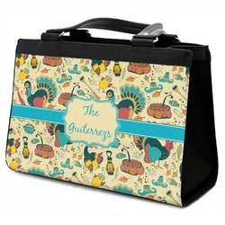 Old Fashioned Thanksgiving Classic Tote Purse w/ Leather Trim (Personalized)