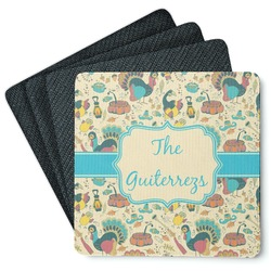 Old Fashioned Thanksgiving 4 Square Coasters - Rubber Backed (Personalized)