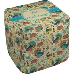 Old Fashioned Thanksgiving Cube Pouf Ottoman (Personalized)