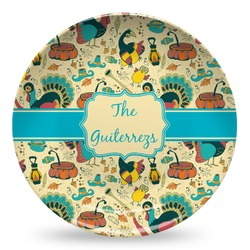 Old Fashioned Thanksgiving Microwave Safe Plastic Plate - Composite Polymer (Personalized)