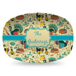 Old Fashioned Thanksgiving Plastic Platter - Microwave & Oven Safe Composite Polymer (Personalized)