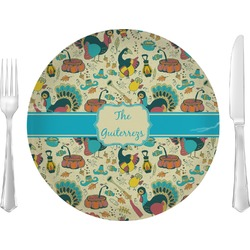 """Old Fashioned Thanksgiving Glass Lunch / Dinner Plates 10"""" - Single or Set (Personalized)"""