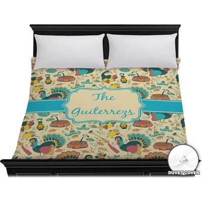 Old Fashioned Thanksgiving Duvet Cover - King (Personalized)