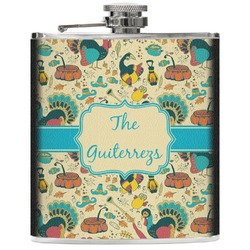 Old Fashioned Thanksgiving Genuine Leather Flask (Personalized)