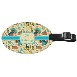 Old Fashioned Thanksgiving Genuine Leather Oval Luggage Tag (Personalized)