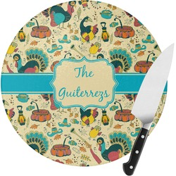 Old Fashioned Thanksgiving Round Glass Cutting Board (Personalized)
