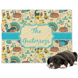 Old Fashioned Thanksgiving Minky Dog Blanket - Large  (Personalized)