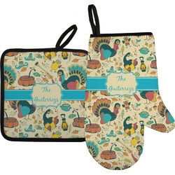 Old Fashioned Thanksgiving Oven Mitt & Pot Holder (Personalized)