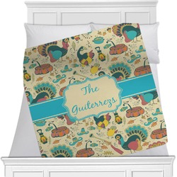 "Old Fashioned Thanksgiving Fleece Blanket - Twin / Full - 80""x60"" - Double Sided (Personalized)"