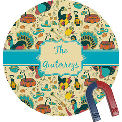 Old Fashioned Thanksgiving Round Magnet (Personalized)