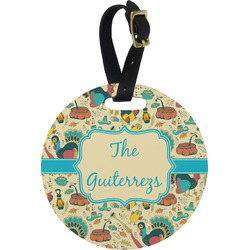 Old Fashioned Thanksgiving Round Luggage Tag (Personalized)