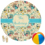 Old Fashioned Thanksgiving Round Beach Towel (Personalized)