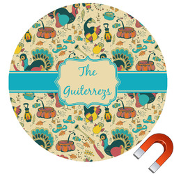 Old Fashioned Thanksgiving Round Car Magnet (Personalized)
