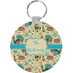 Old Fashioned Thanksgiving Round Keychain (Personalized)