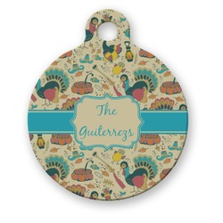 Old Fashioned Thanksgiving Round Pet Tag (Personalized)