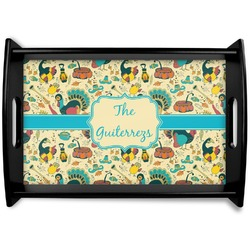 Old Fashioned Thanksgiving Black Wooden Tray (Personalized)