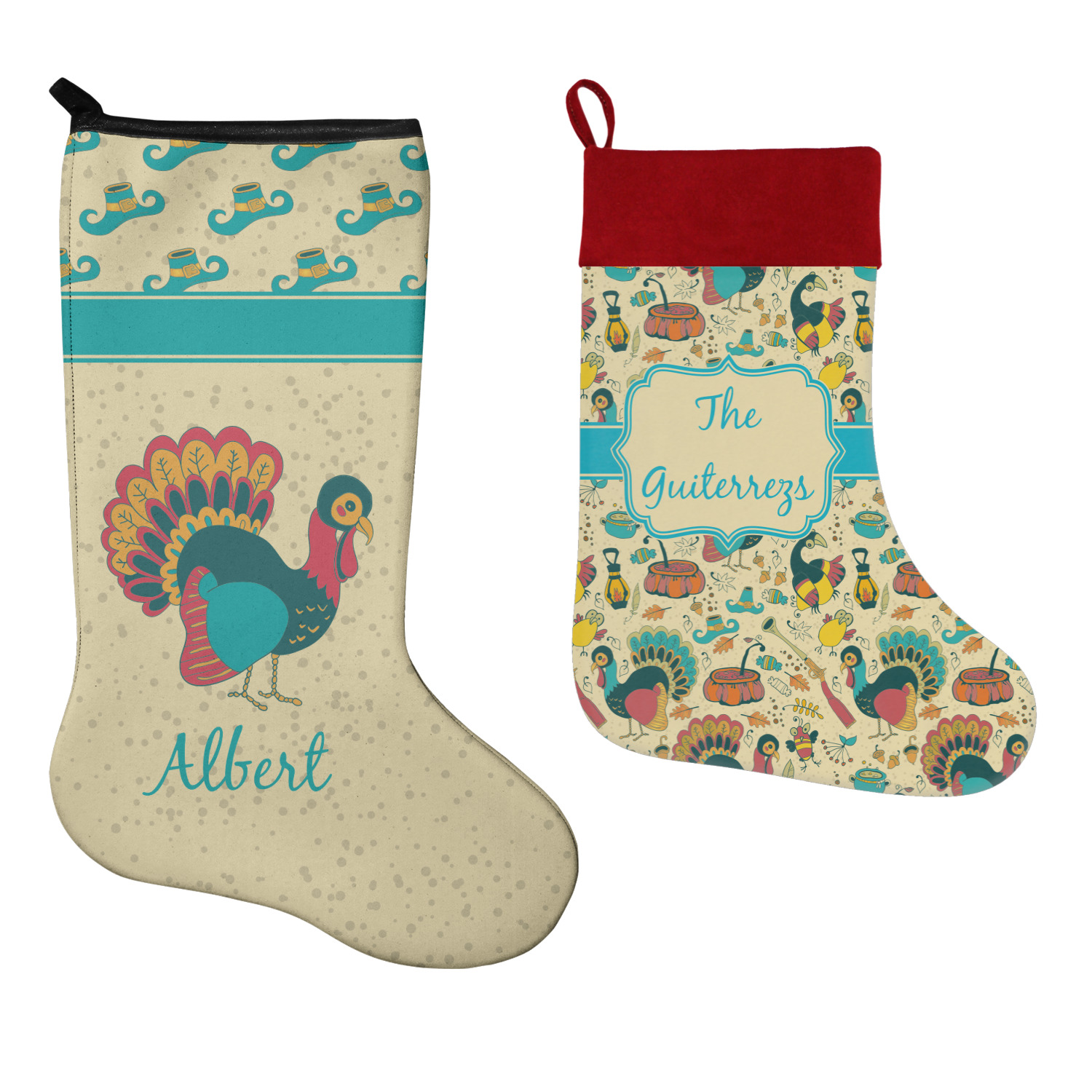 Old Fashioned Thanksgiving Christmas Stocking - Double-Sided ...