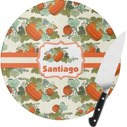 Pumpkins Round Glass Cutting Board - Small (Personalized)