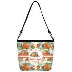 Pumpkins Bucket Bag w/ Genuine Leather Trim (Personalized)