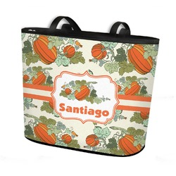 Pumpkins Bucket Tote w/ Genuine Leather Trim (Personalized)