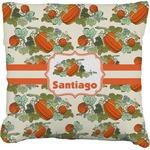 Pumpkins Faux-Linen Throw Pillow (Personalized)