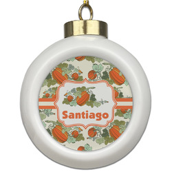 Pumpkins Ceramic Ball Ornament (Personalized)