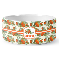 Pumpkins Ceramic Dog Bowl (Personalized)
