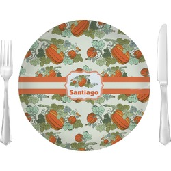 "Pumpkins Glass Lunch / Dinner Plates 10"" - Single or Set (Personalized)"
