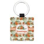 Pumpkins Genuine Leather Rectangular Keychain (Personalized)