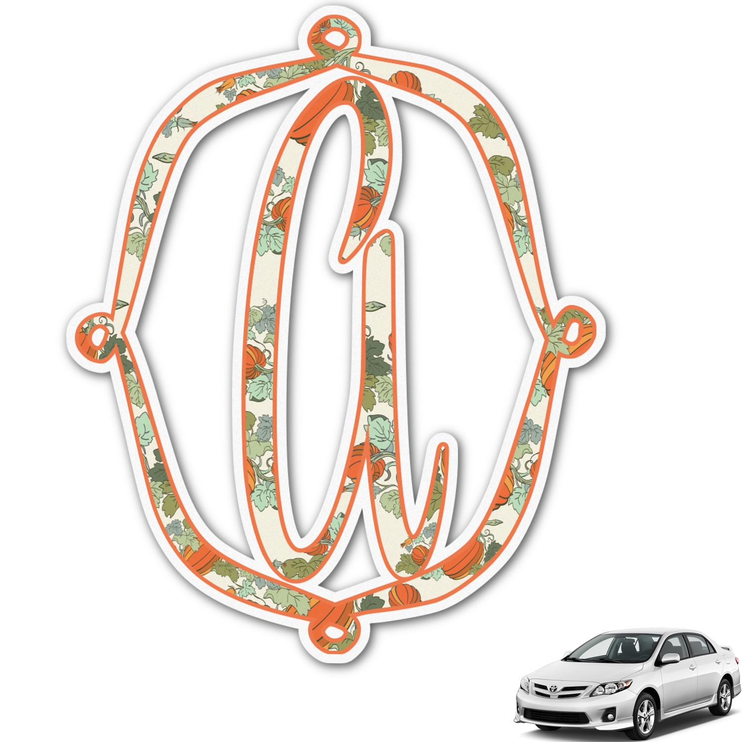 Pumpkins Monogram Car Decal Personalized Youcustomizeit