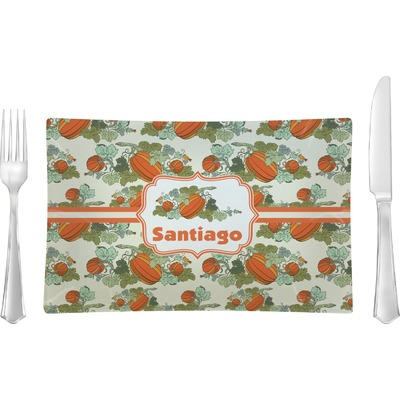 Pumpkins Rectangular Glass Lunch / Dinner Plate - Single or Set (Personalized)