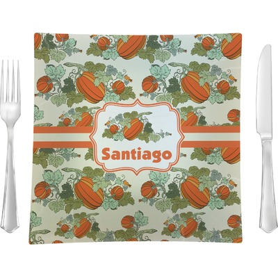 """Pumpkins 9.5"""" Glass Square Lunch / Dinner Plate- Single or Set of 4 (Personalized)"""