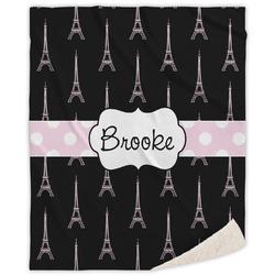 Black Eiffel Tower Sherpa Throw Blanket (Personalized)