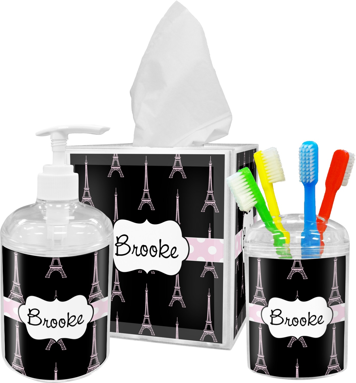 Black Eiffel Tower Bathroom Accessories Set (Personalized ...