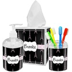 Black Eiffel Tower Bathroom Accessories Set (Personalized)