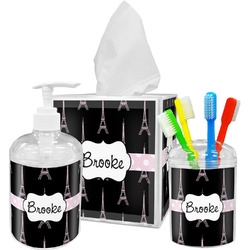 Black Eiffel Tower Acrylic Bathroom Accessories Set w/ Name or Text