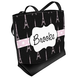 Black Eiffel Tower Beach Tote Bag (Personalized)