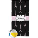 Black Eiffel Tower Beach Towel (Personalized)