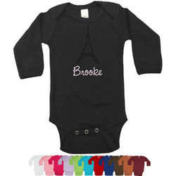 Black Eiffel Tower Long Sleeves Bodysuit - 12 Colors (Personalized)